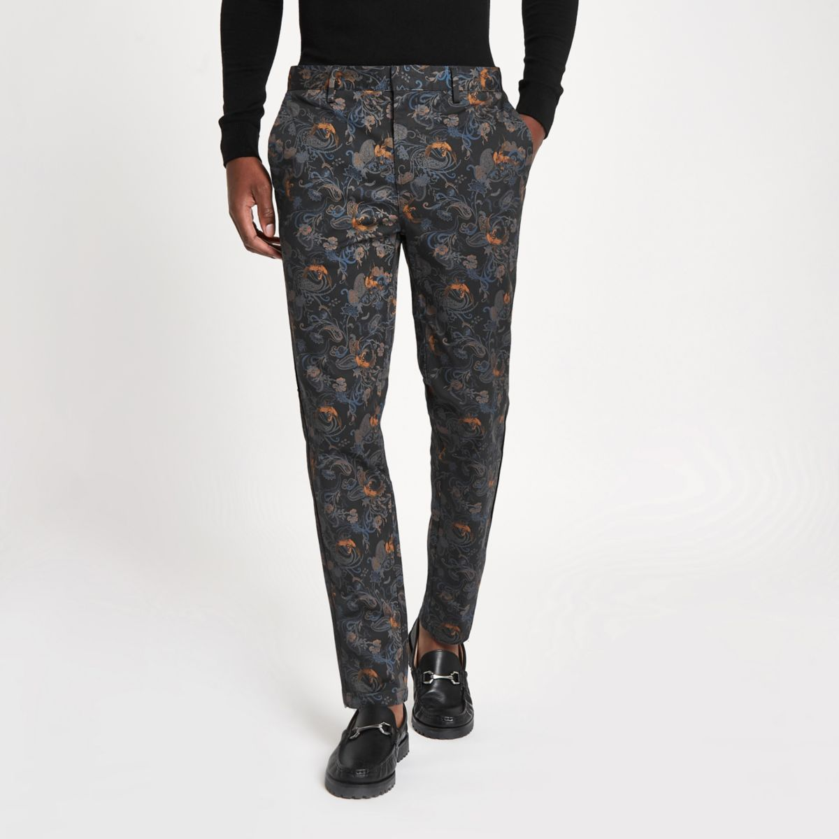 Blue crane print skinny smart pants