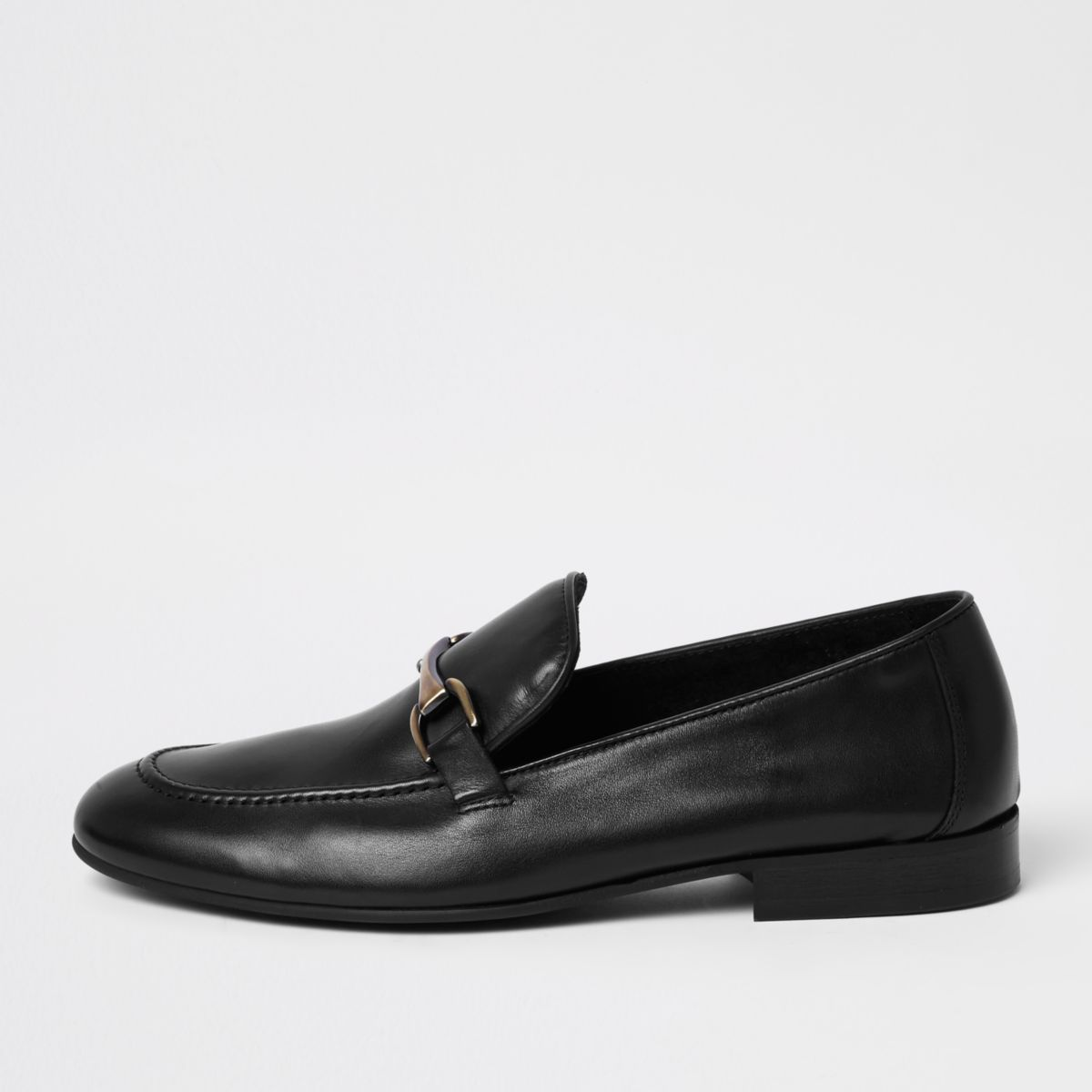 Mens Black leather snaffle loafers River Island