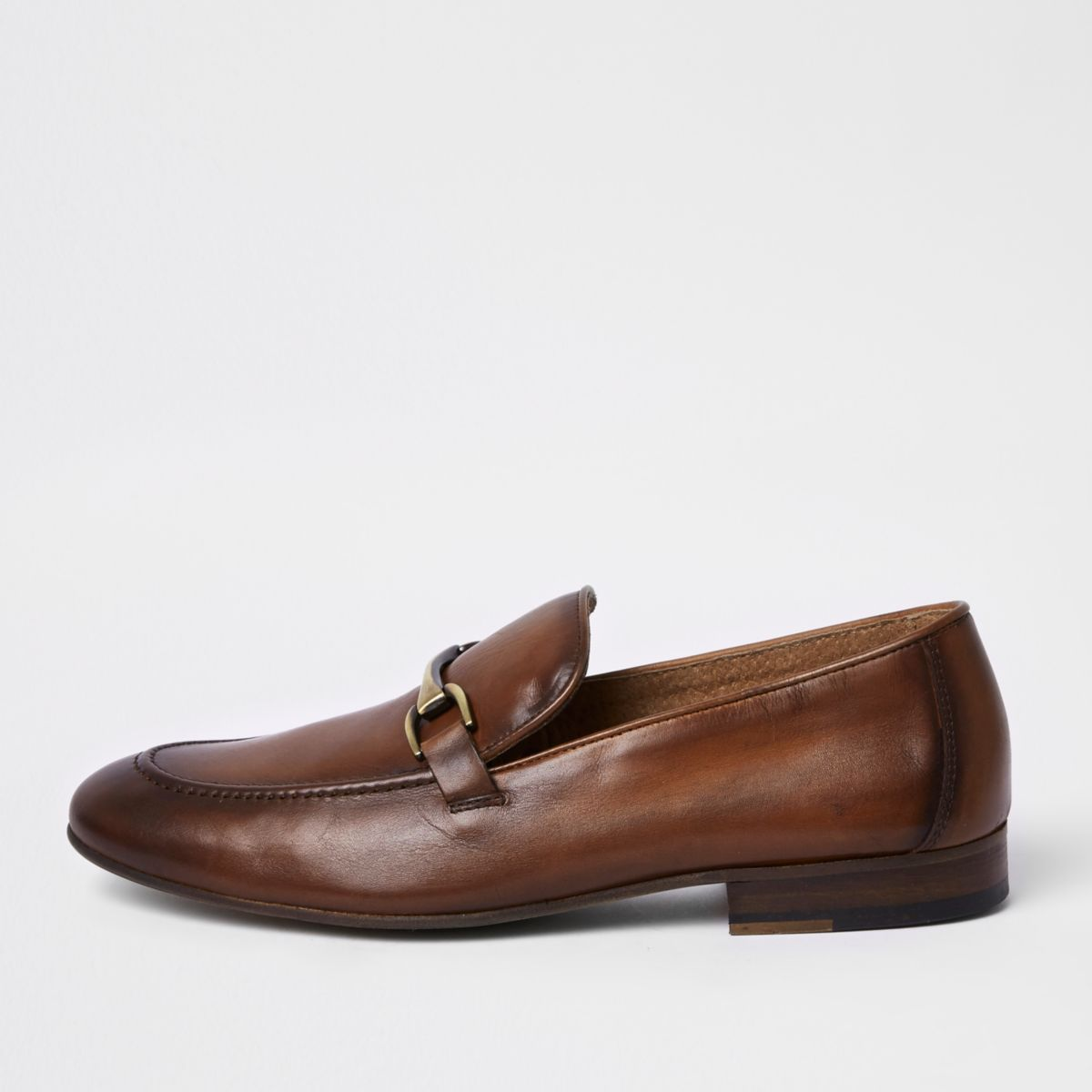 Brown leather snaffle loafers