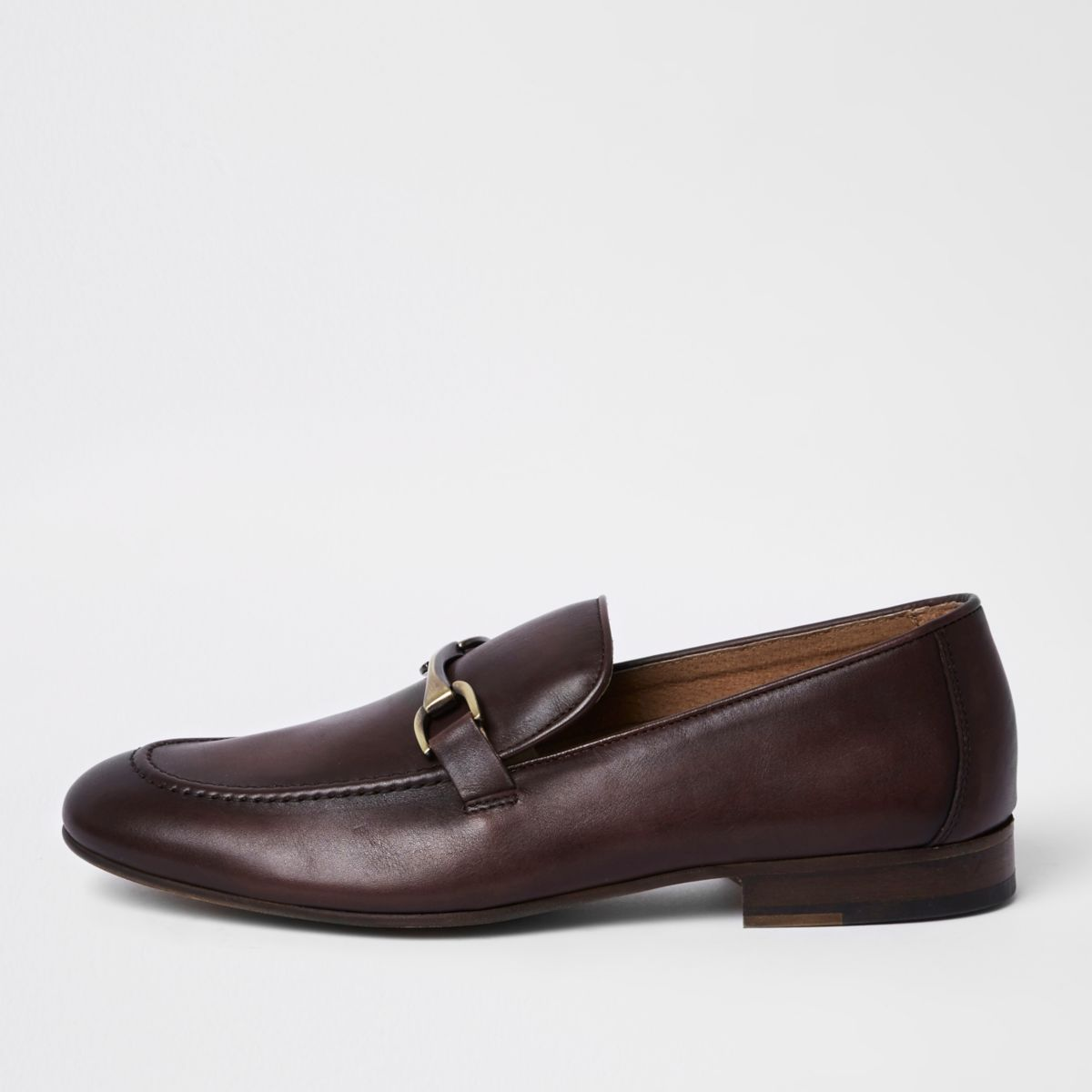 Dark red leather snaffle loafers