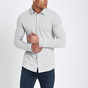 Grey pique muscle fit long sleeve shirt