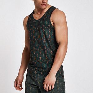 Grünes Slim Fit Trägerhemd mit Aztekenmuster