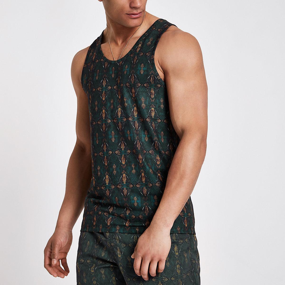 Green aztec print slim fit vest