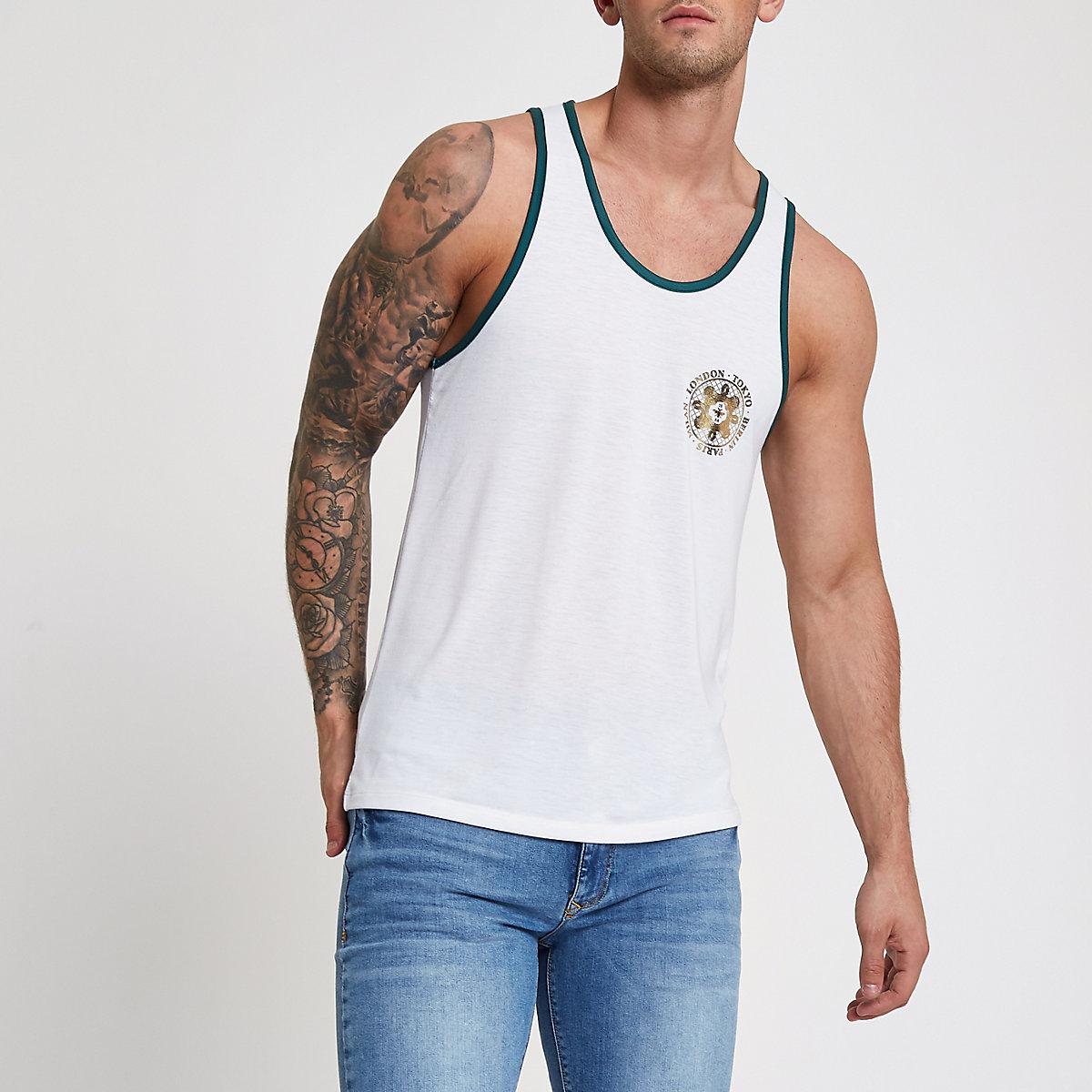 White slim fit back print tank top