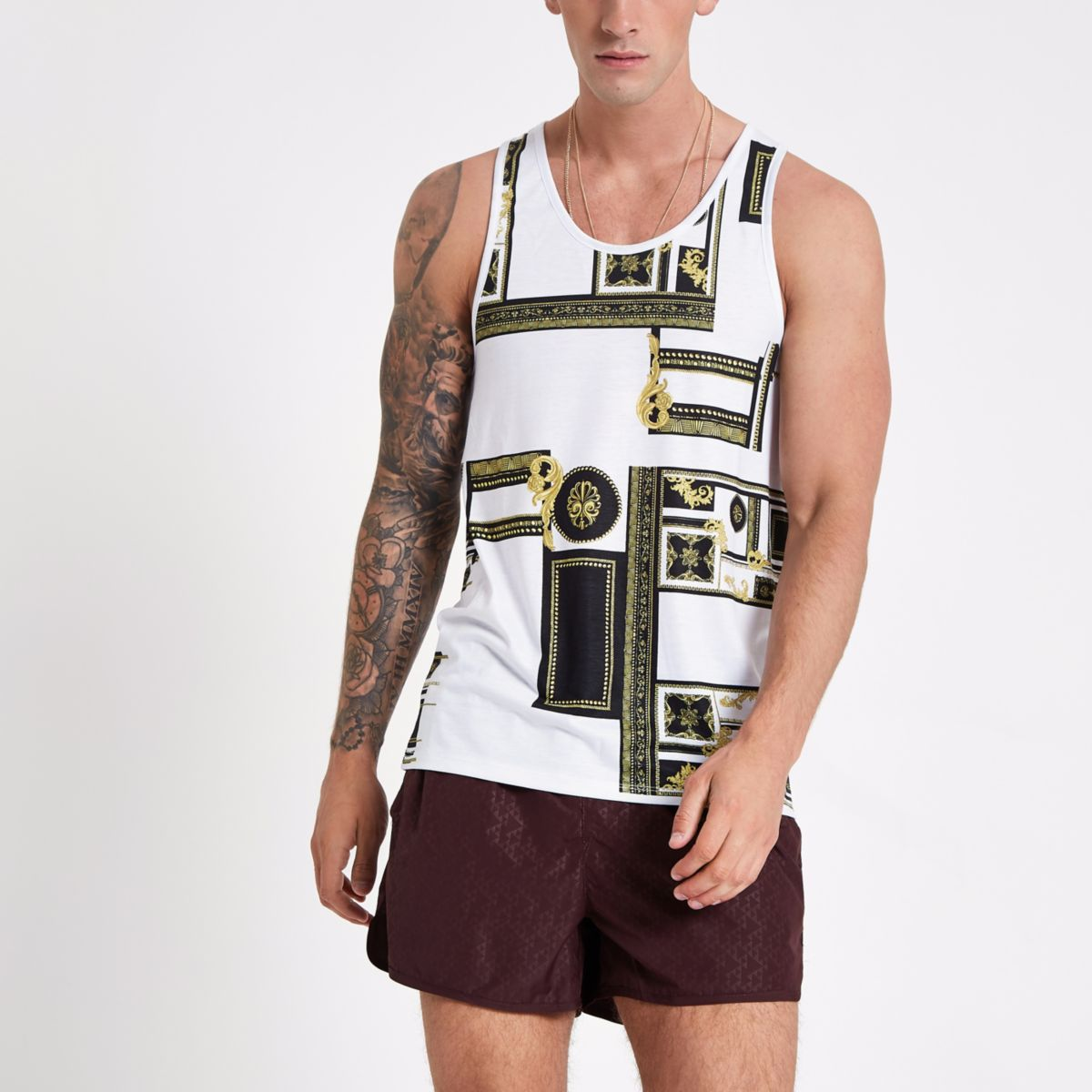 White print slim fit tank top
