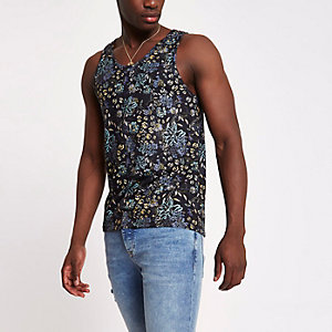 Black floral slim fit tank
