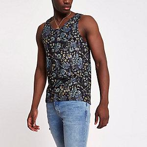 Zwart slim-fit hemdje met bloemenprint
