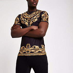 T-shirt ajusté noir imprimé chaîne