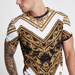 Weißes Muscle Fit T-Shirt mit Print