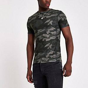 Grünes Muscle Fit T-Shirt mit Camouflage-Muster