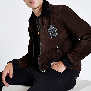 RI 30 dark red suede jacket