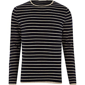 Jack & Jones navy knit stripe sweater