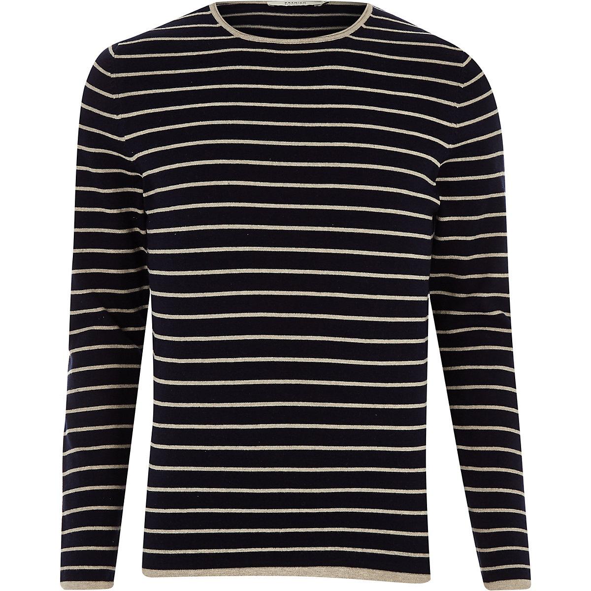 Jack & Jones navy knit stripe sweater