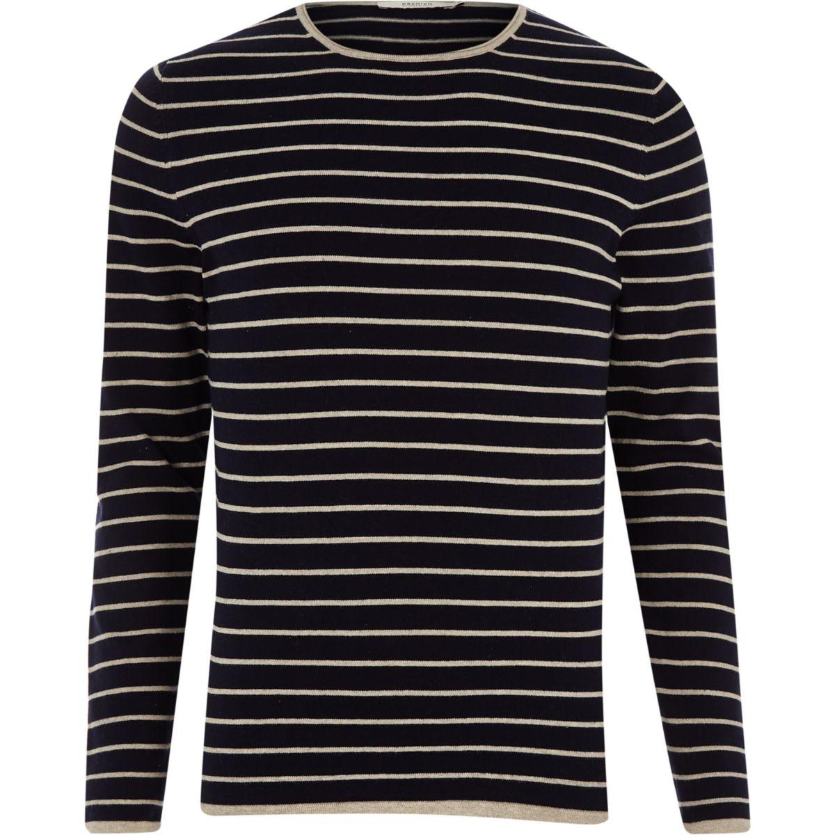 Jack & Jones navy knit stripe jumper