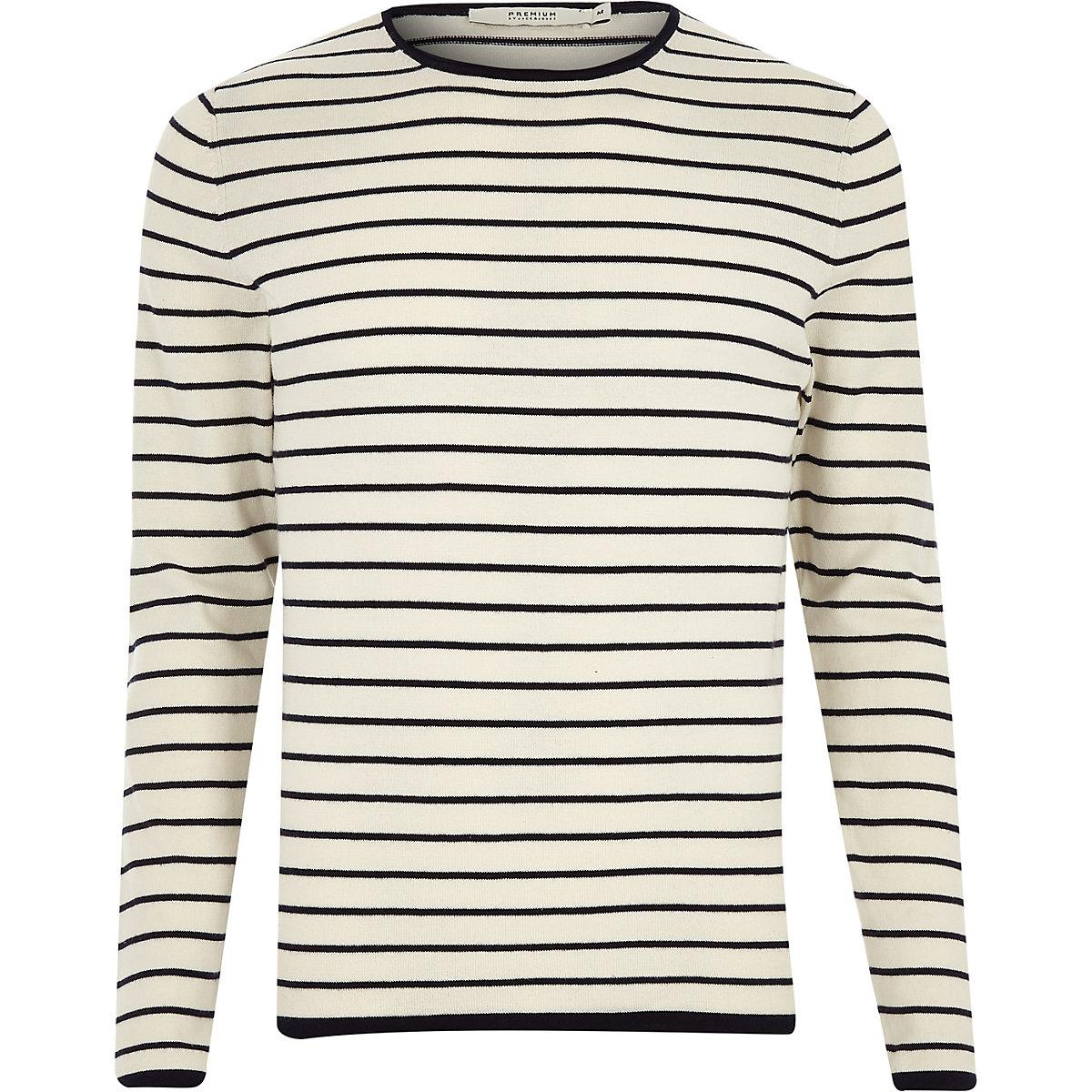 Jack & Jones grey knit stripe sweater