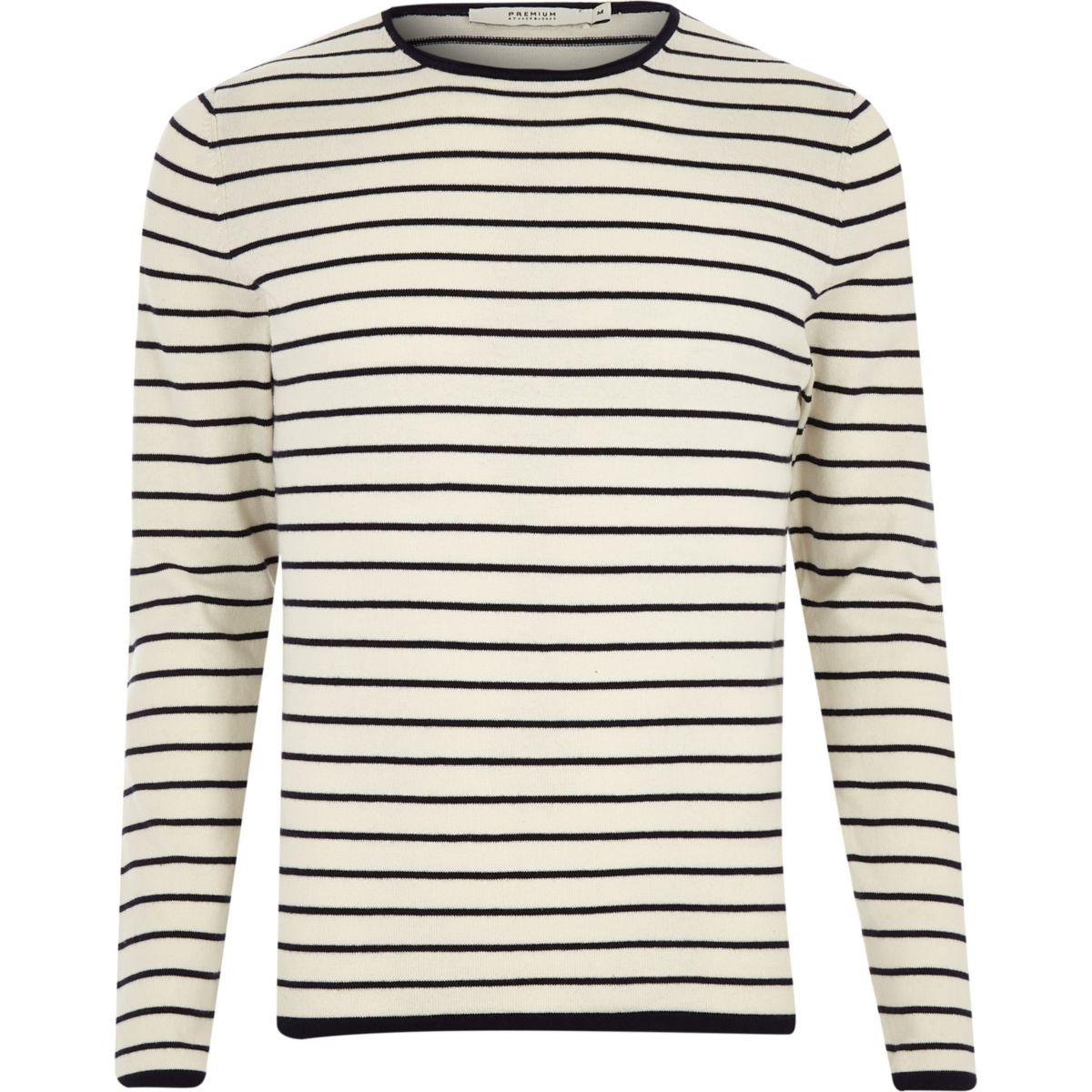Jack & Jones grey knit stripe jumper