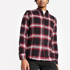 Only & Sons burgundy check long sleeve shirt