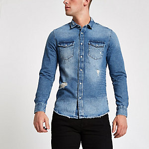 Only & Sons blue ripped denim shirt