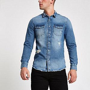 Only & Sons - Blauw ripped denim overhemd