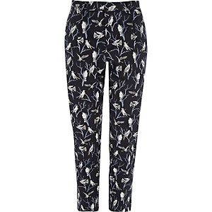 Pantalon Jack & Jones Premium bleu marine à imprimé oiseau