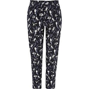 Jack & Jones Premium - Marineblauwe broek met vogelprint