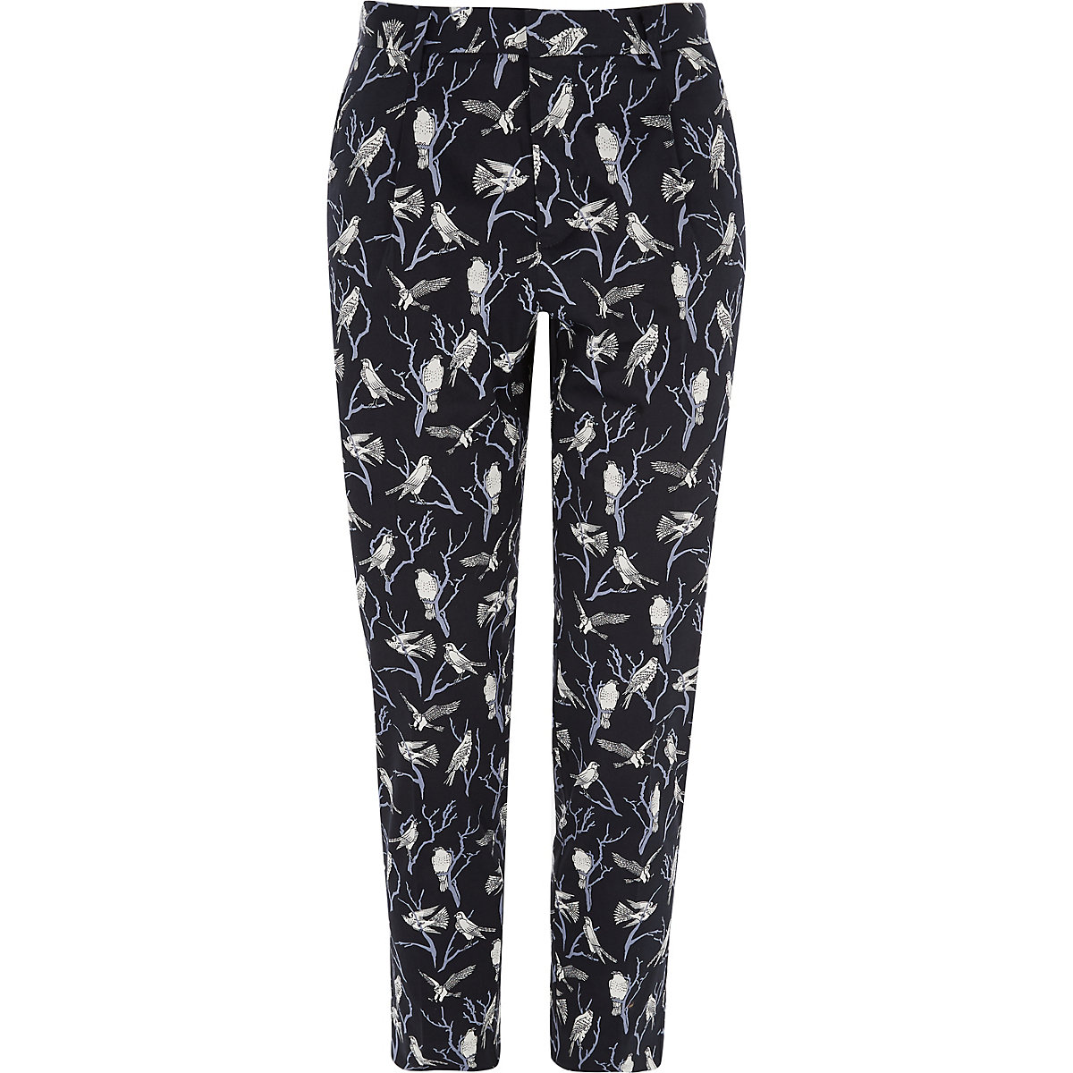 Jack & Jones Premium navy bird print trousers