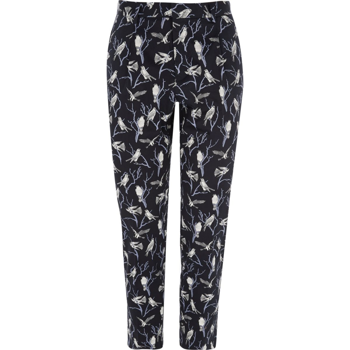 Jack & Jones Premium navy bird print pants