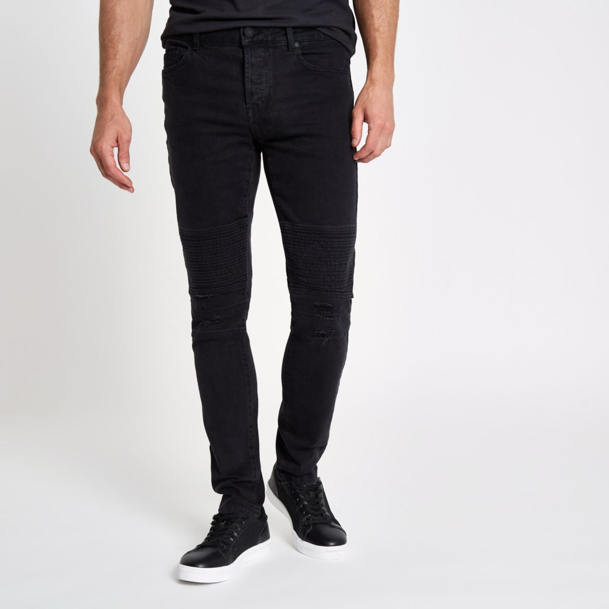 Only & Sons black slim fit biker panel jeans