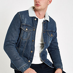 Only & Sons – Veste en denim bleue avec col imitation peau de mouton