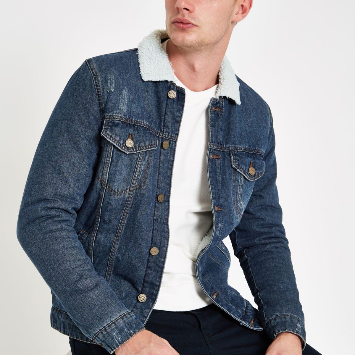 Only & Sons blue fleece collar denim jacket