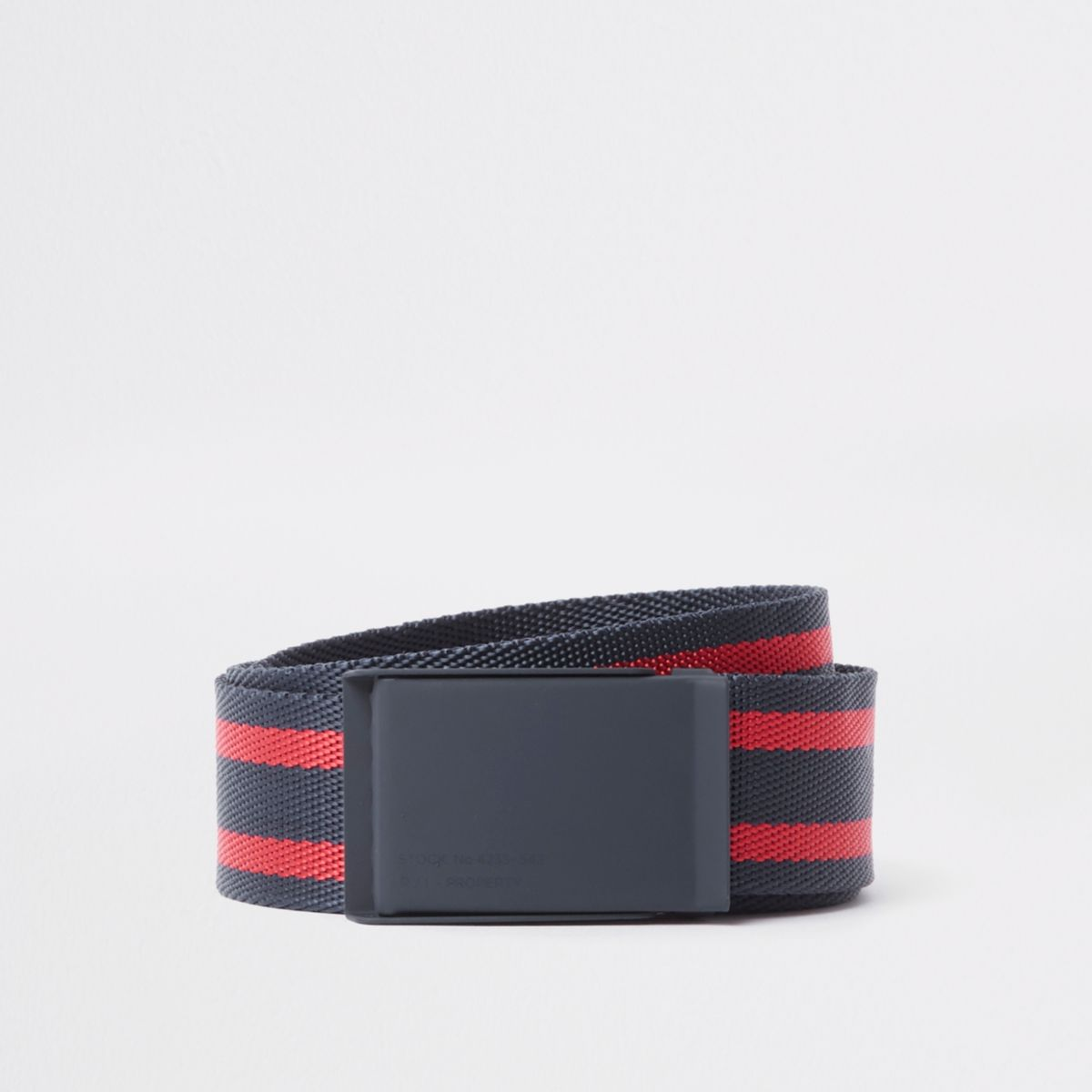 Navy textured stripe plate buckle belt