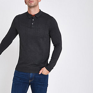 Dunkelgraunes, langärmeliges Slim Fit Polohemd