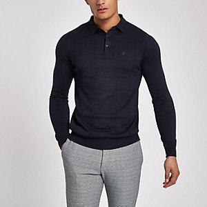 Marineblaues, langärmeliges Slim Fit Polohemd