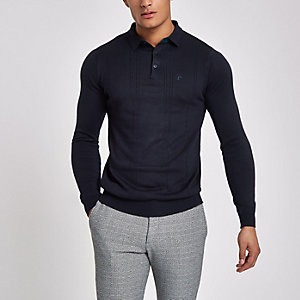 Navy slim fit long sleeve polo shirt
