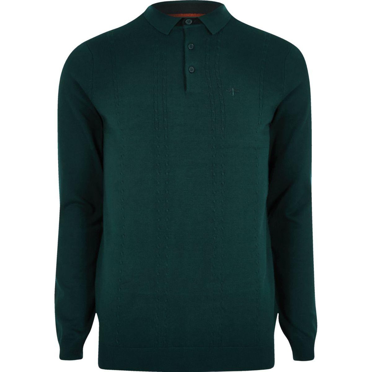 shirt long fit Teal slim sleeve polo cable qYFBf1