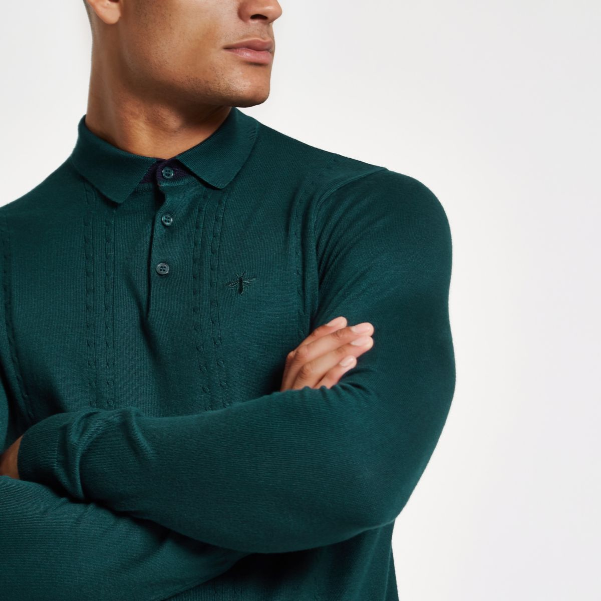 Teal cable slim fit long sleeve polo shirt