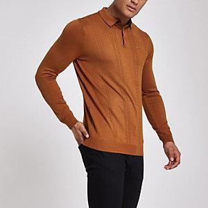 Braunes Slim Fit Polohemd mit langen Ärmeln