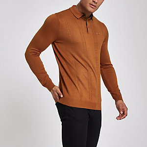 Dark orange slim fit long sleeve polo shirt