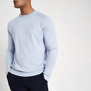 Lichtblauwe slim-fit pullover met ronde hals