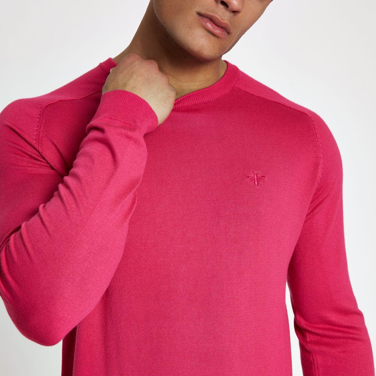 Bright pink slim fit crew neck jumper