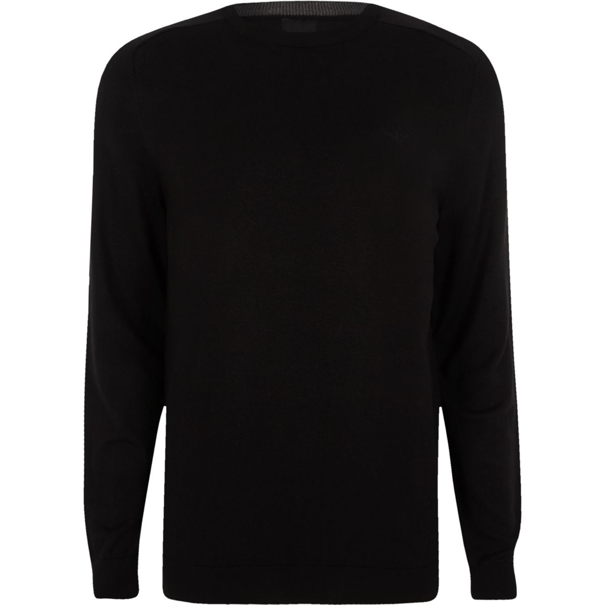 slim fit Black neck jumper crew aCqBFxgw