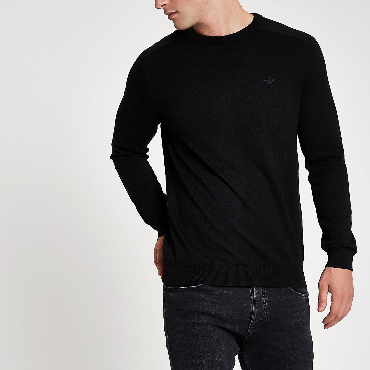 Black slim fit crew neck jumper