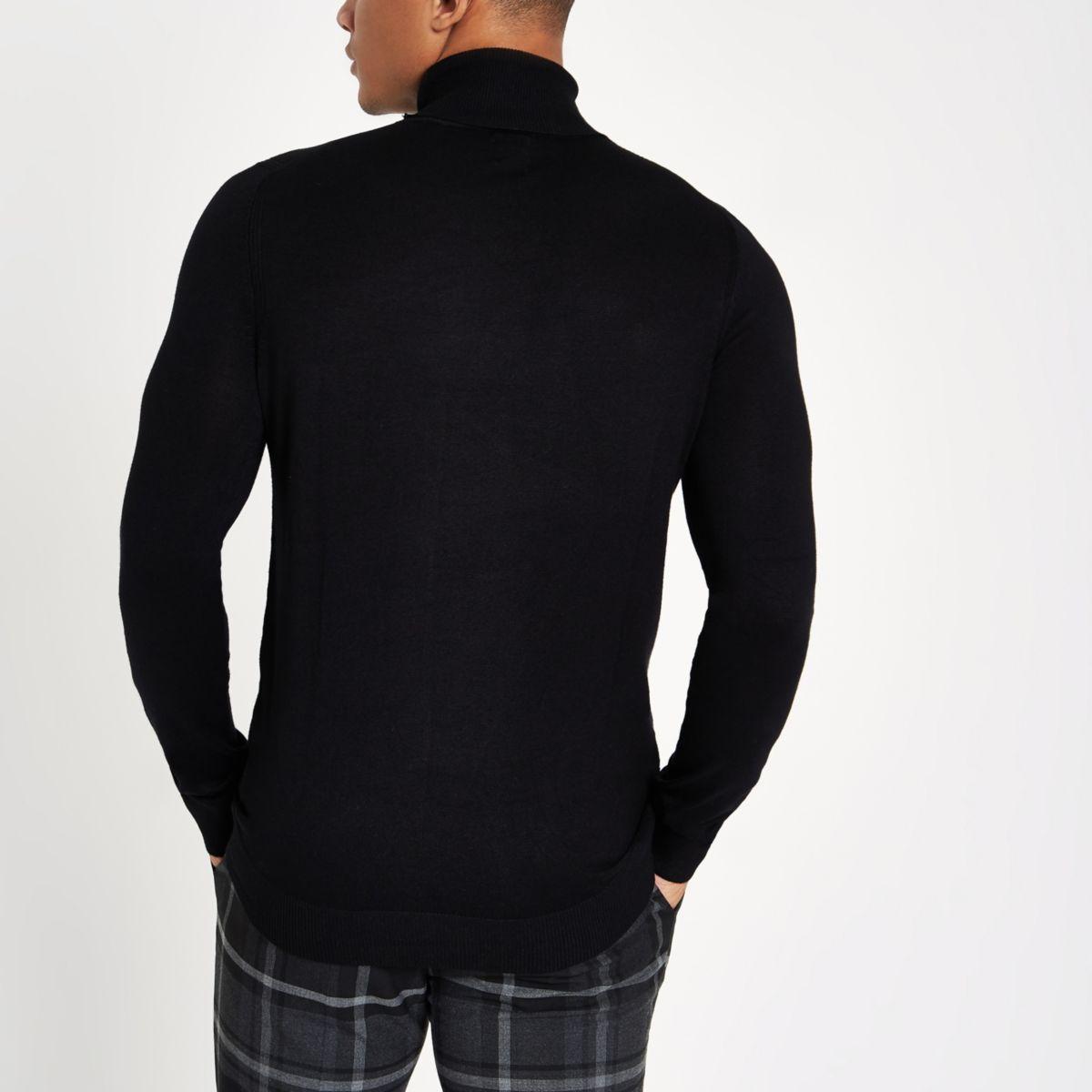 slim Black roll jumper neck fit qX7w170