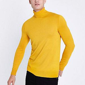 Gele slim-fit pullover met lange mouwen en col