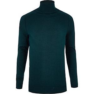 Donkergroene slim-fit pullover met rolkraag