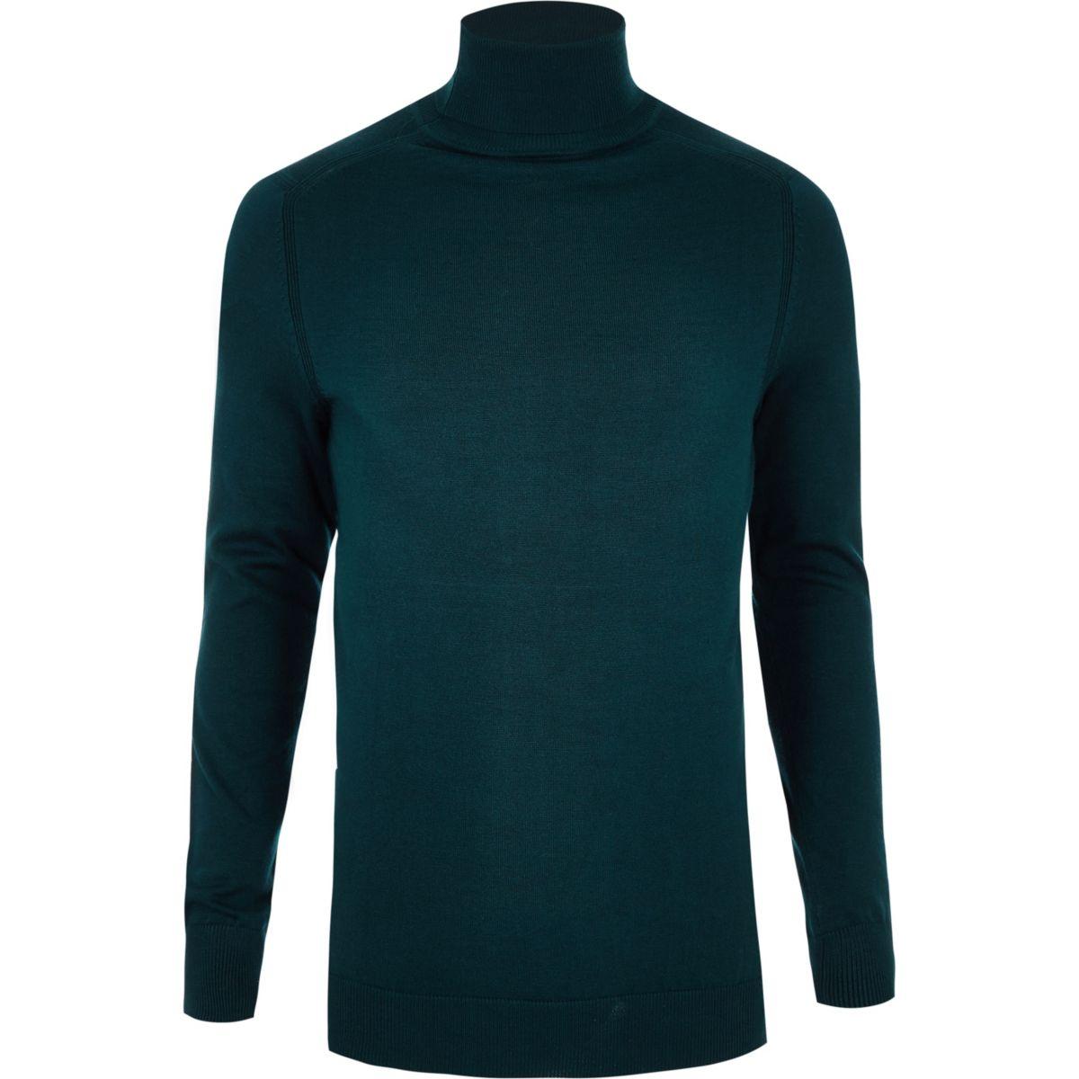 Dark green slim fit roll neck sweater