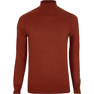 Orange roll neck slim fit jumper