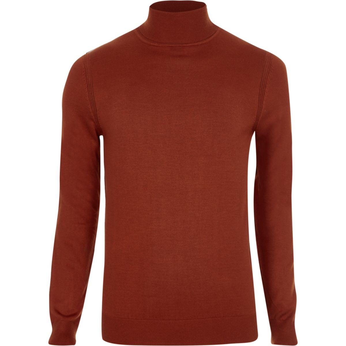 Orange roll neck slim fit sweater