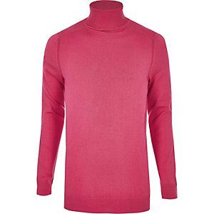 Bright pink slim fit roll neck jumper
