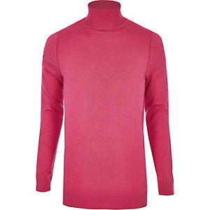 Slim Fit Rollkragenpullover in Hellrosa